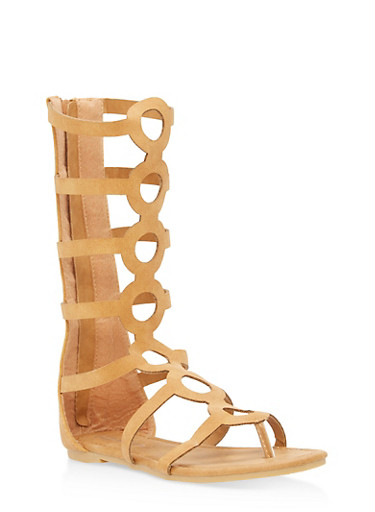 Girls 11-4 Tall Strappy Gladiator Sandals,TAN,large