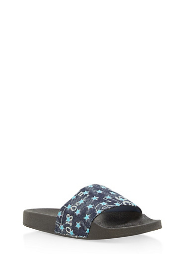 Girls 11-4 Star Printed Denim Slides,TURQUOISE,large