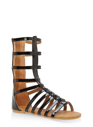 Girls 11-4 Tall Strappy Gladiator Sandals,BLACK,large