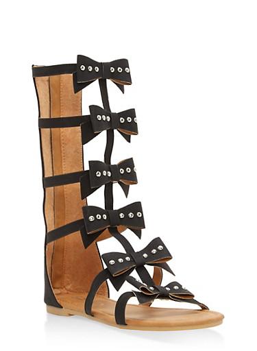 Girls 11-4 Studded Bow Gladiator Sandals,BLACK,large