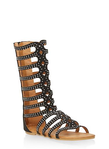 Girls 11-4 Rhinestone Studded Gladiator Sandals,BLACK,large