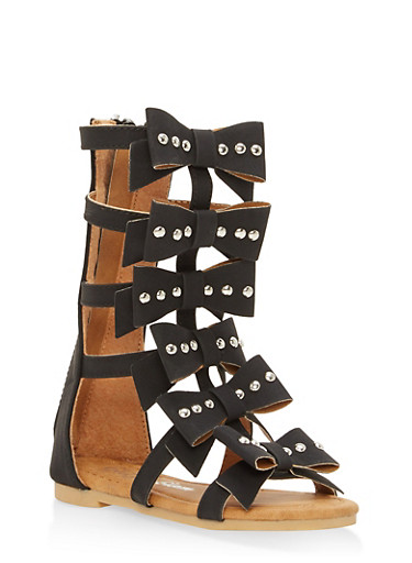 Girls 5-10 Studded Bow Gladiator Sandals | Tuggl