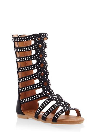 Girls 5-10 Rhinestone Studded Gladiator Sandals,BLACK,large