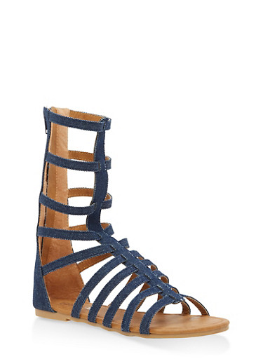 Girls 13-1 Multi Strap Denim Gladiator Sandals,DENIM,large
