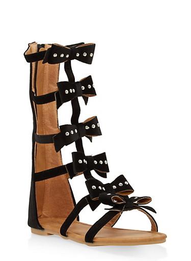 Girls 11-4 Studded Velvet Bow Gladiator Sandals,BLACK,large