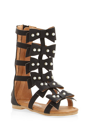Girls 5-10 Bow Strap Gladiator Sandals,BLACK,large