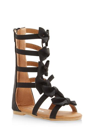 Girls 5-10 Bow Strap Gladiator Sandals,BLACK,large