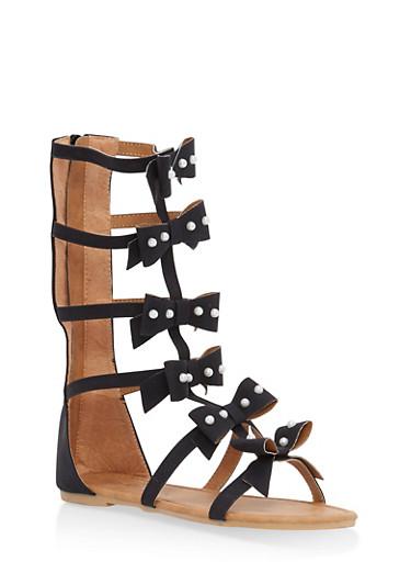 Girls 11-4 Faux Pearl Studded Gladiator Sandals,BLACK,large