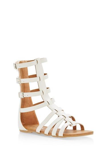 Girls 11-4 Multi Buckle Gladiator Sandals,WHITE,large
