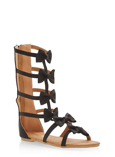 Girls 11-4 Bow Gladiator Sandals,BLACK,large