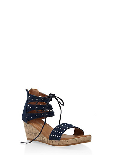 Girls 10-4 Lace Up Studded Denim Wedge Sandals,DENIM,large