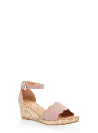 Girls 10-4 Scalloped Edge Wedge Sandals,MAUVE,large