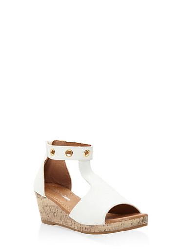 Girls 10-4 Zip Back Cork Platform Sandals,WHITE,large
