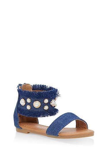 Girls 5-10 Faux Pearl Studded Denim Sandals,DARK WASH,large