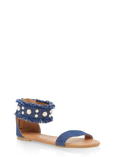Girls 11-4 Faux Pearl Denim Sandals,DENIM,large