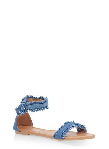Girls 11-4 Frayed Denim Sandals,LIGHT WASH,large