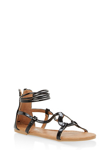 Girls 11-4 Ankle Strap Sandals,BLACK,large