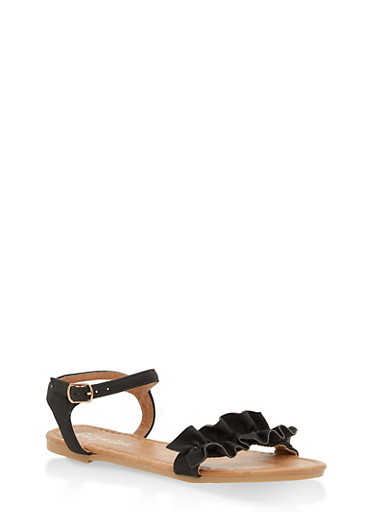 Girls 11-4 Ruffled Sandals,BLACK,large