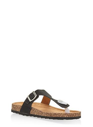 Girls 11-4 Footbed Thong Slide Sandals,BLACK,large