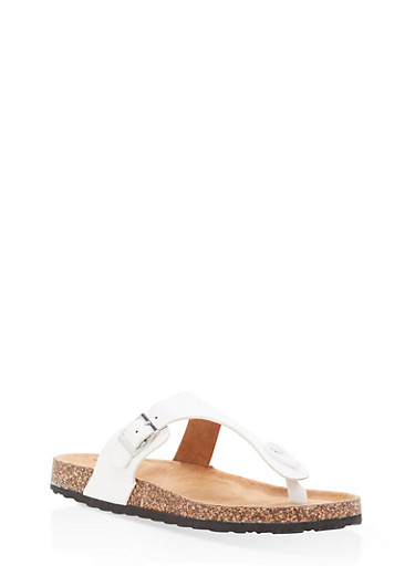 Girls 11-4 Footbed Thong Slide Sandals,WHITE,large