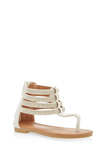 Girls 5-10 Rhinestone Ankle Strap Sandals,WHITE,large