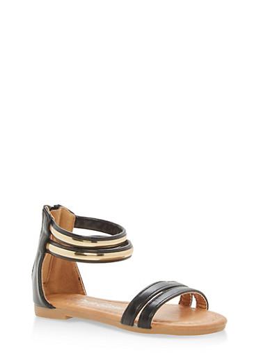 Girls 5-10 Metallic Ankle Strap Sandals,BLACK,large
