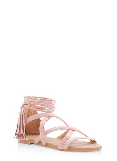 Girls 11-4 Strappy Tassel Sandals,MAUVE,large