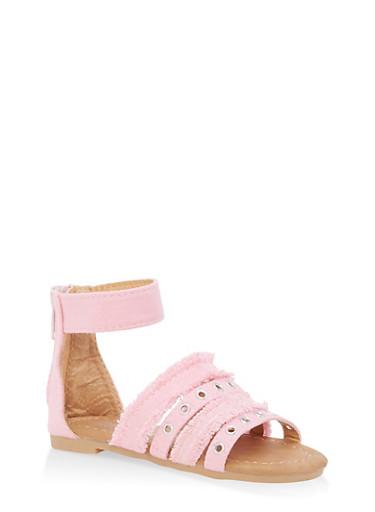 Girls 5-10 Colored Denim Sandals,PINK,large
