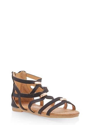 Girls 5-10 Strappy Gladiator Sandals,BLACK,large