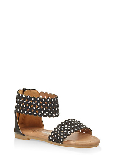 Girls 11-4 Studded Laser Cut Sandals,BLACK,large
