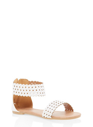 Girls 5-10 Studded Laser Cut Sandals,WHITE,large