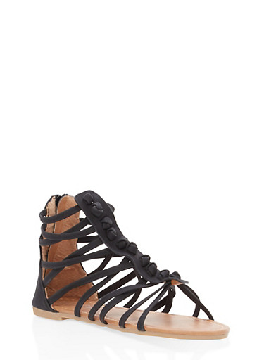 Girls 11-4 Knotted Gladiator Sandals,BLACK,large