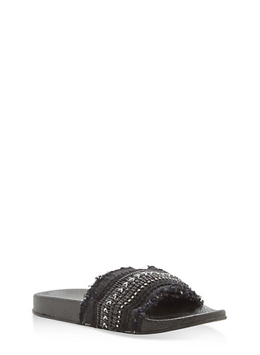 Girls 11-4 Frayed Beaded Slides,BLACK,large