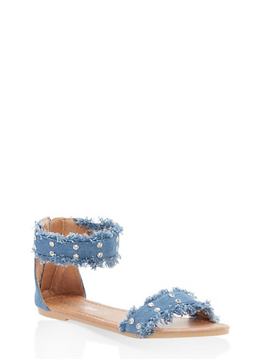 Girls 11-4 Rhinestone Studded Denim Sandals | Tuggl