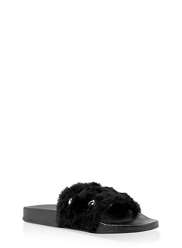 Girls 11-4 Faux Fur Grommet Slides,BLACK,large