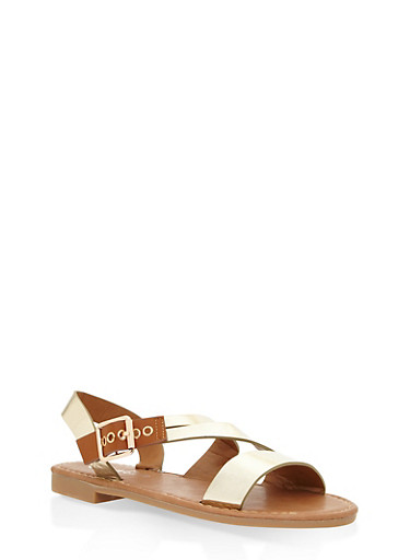 Girls 11-4 Asymmetrical Strap Sandals,GOLD,large