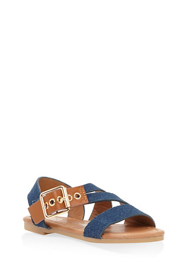 Girls 5-10 Buckle Detail Sandals,DENIM,large
