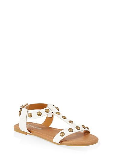 Girls 11-4 Studded T Strap Sandals   1737064790170,WHITE,large