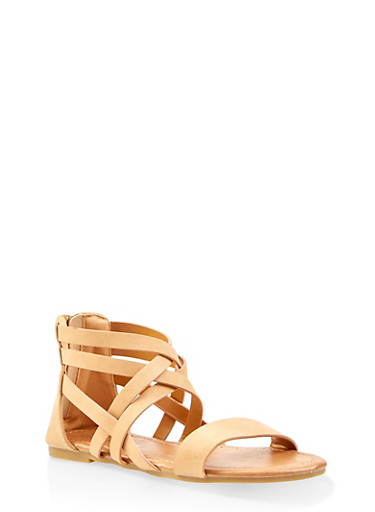 Girls 11-4 Criss Cross Ankle Strap Sandals,TAN,large