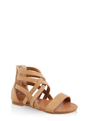 Girls 5-10 Criss Cross Gladiator Sandals,TAN,large