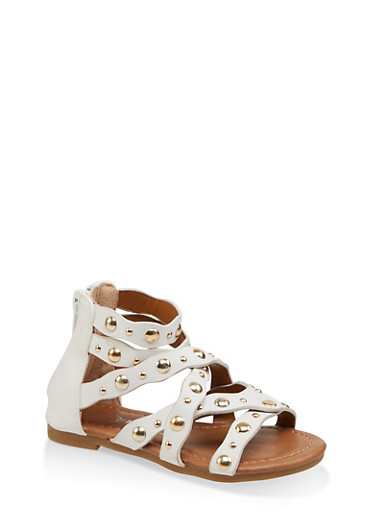 Girls 5-10 Studded Criss Cross Sandals,WHITE,large