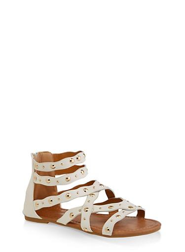 Girls 11-4 Criss Cross Studded Sandals,WHITE,large