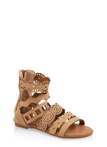 Girls 5-10 Laser Cut Strap Sandals,TAN,large