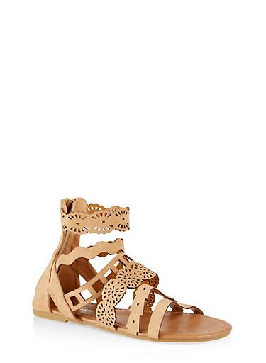 Girls 11-4 Laser Cut Strap Sandals,TAN,large