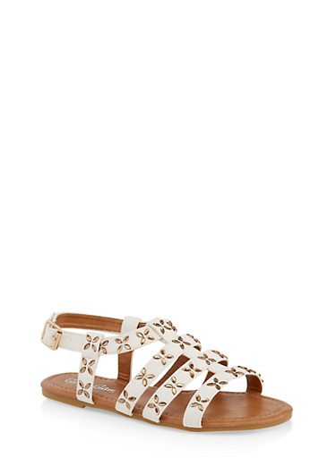 Girls 11-4 Jeweled Caged Sandals,WHITE,large