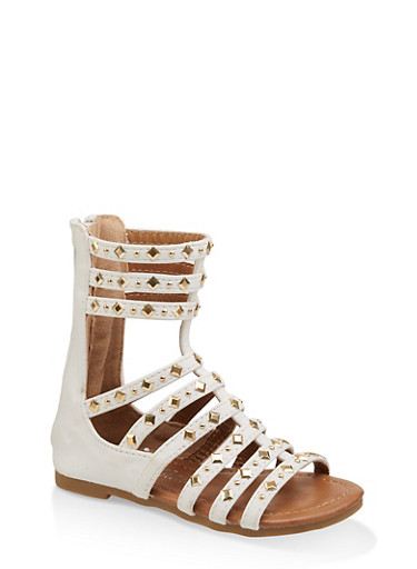 Girls 5-10 Tall Studded Gladiator Sandals | 1737064790185,WHITE,large
