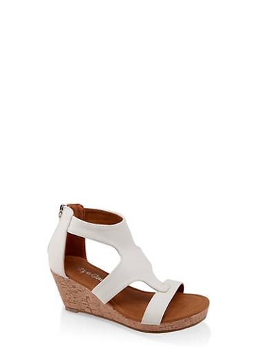 Girls 11-4 Wedge Sandals,WHITE,large