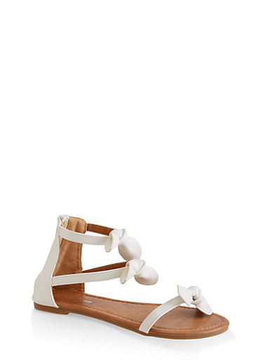 Girls 11-4 Strappy Bow Sandals,WHITE,large