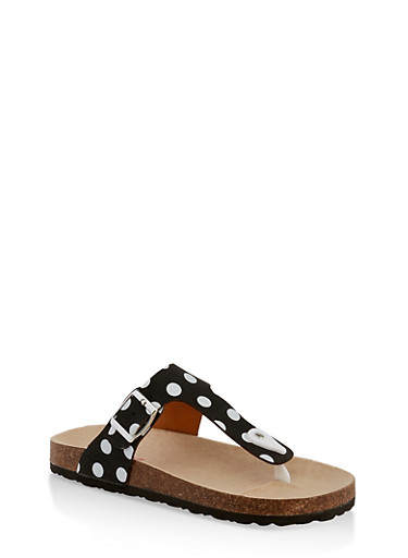 Girls 11-4 Polka Dot Thong Footbed Sandals,BLACK,large