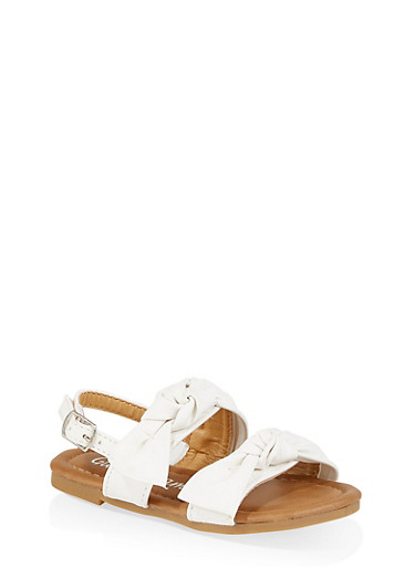 Girls 5-10 Double Bow Strap Sandals,WHITE,large